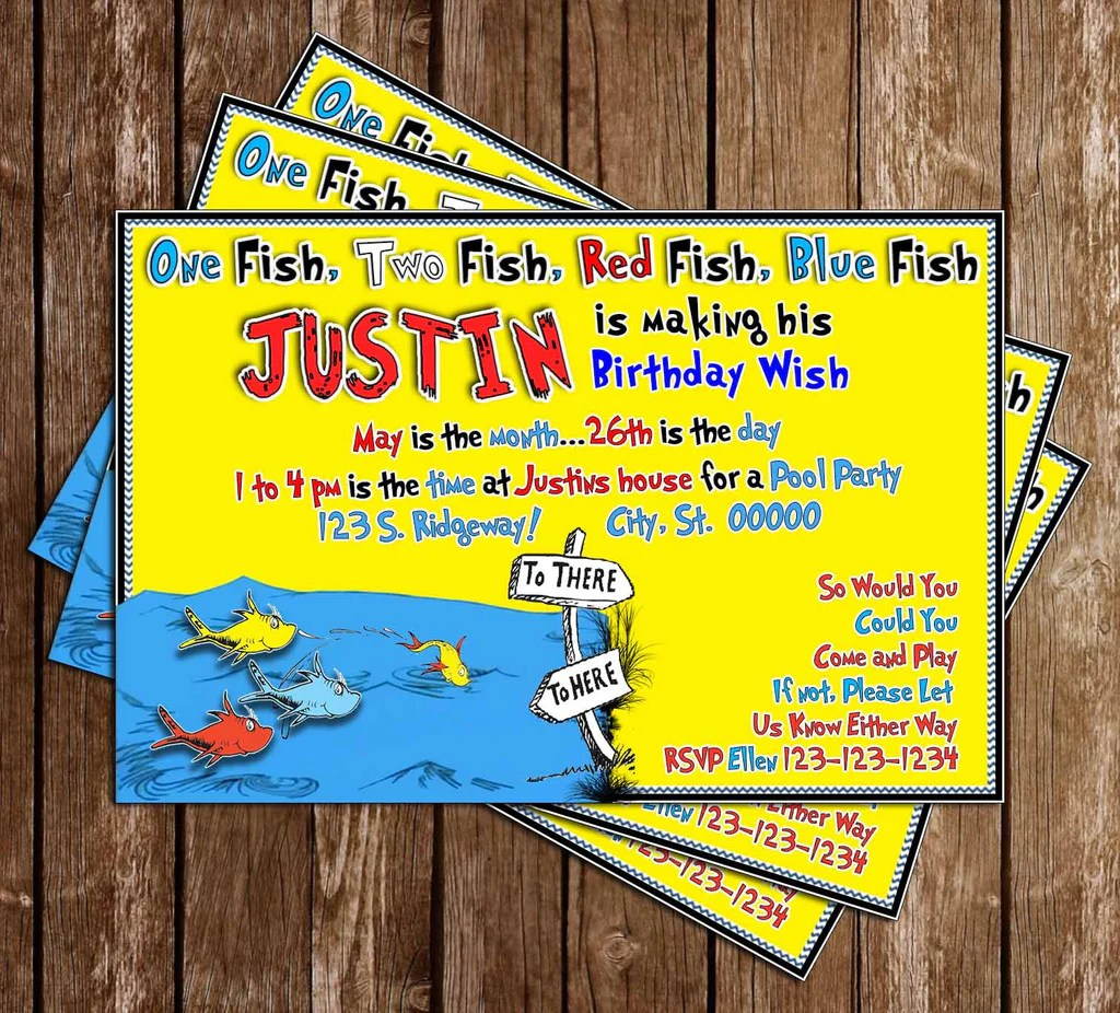 one fish two fish dr seuss birthday invitation