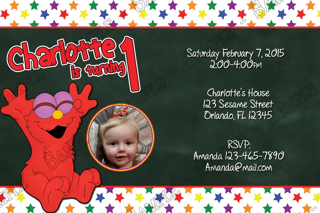 baby elmo 1st birthday party invitation digital file