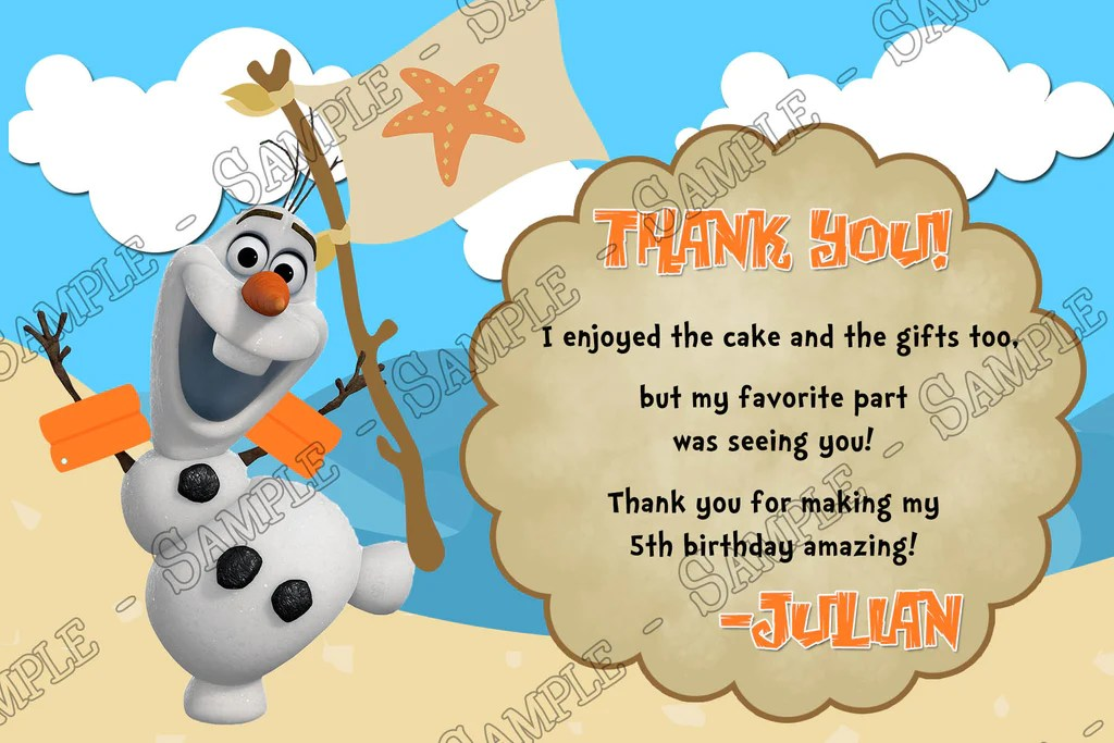 disney s frozen olaf pool or beach birthday party invitation