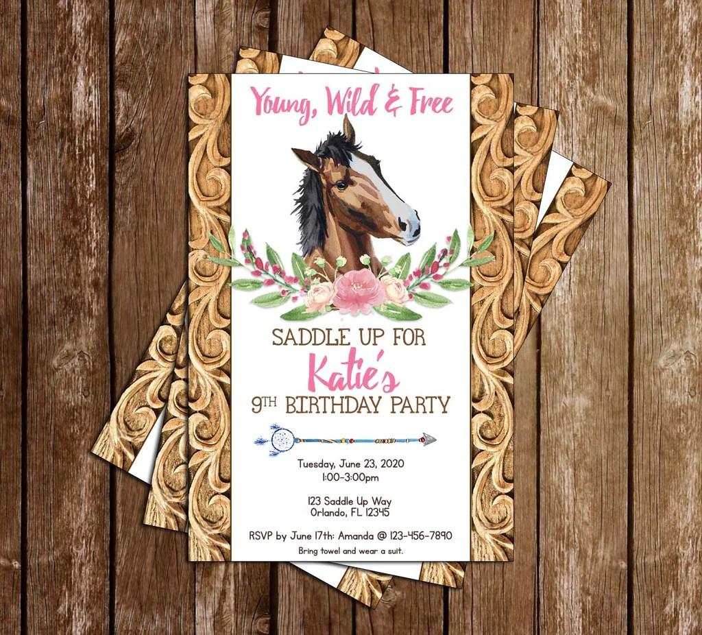 wild horses birthday party invitation