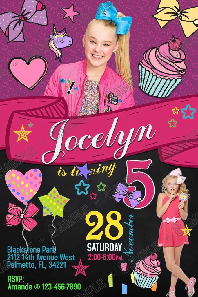 jojo siwa tall birthday party invitation