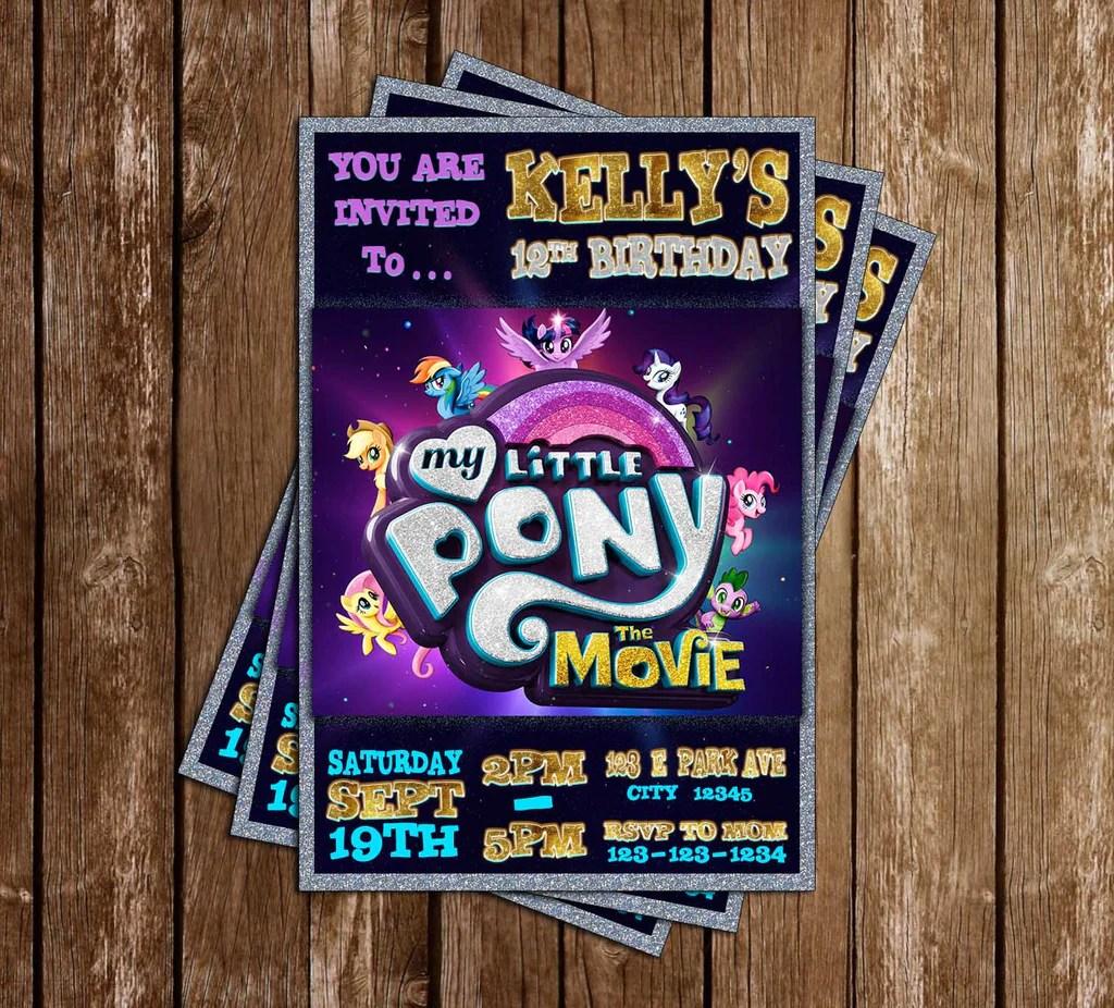 my little pony tall the movie birthday party invitation