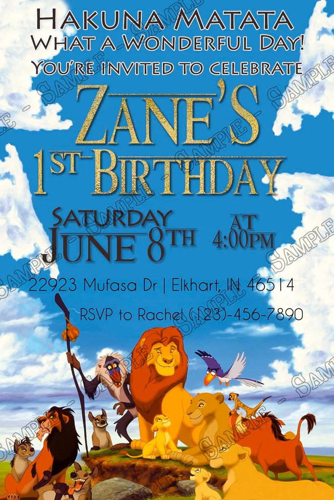 the lion king clouds birthday party invitation