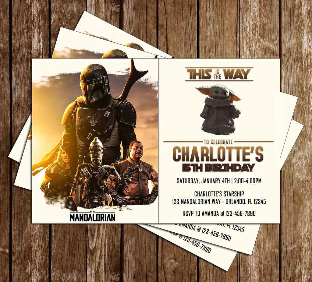 star wars the mandalorian birthday party invitation