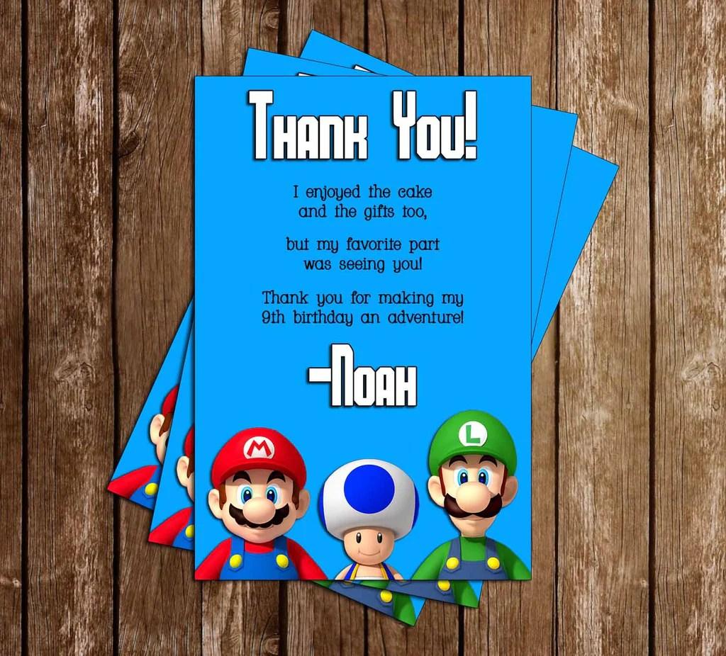 super mario bros birthday party thank you card