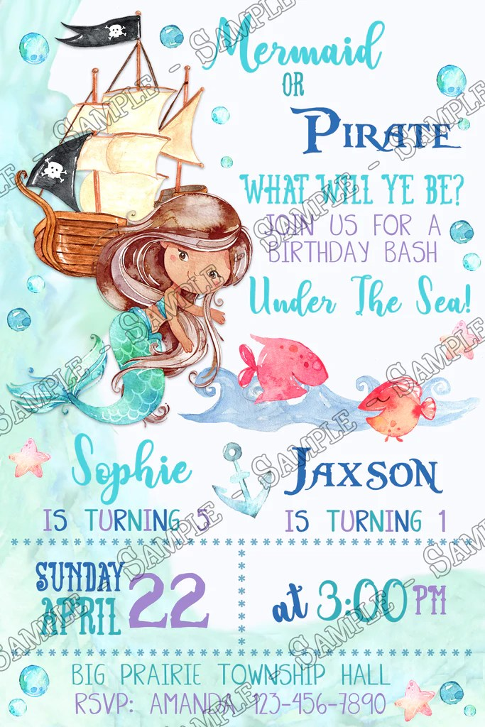 mermaid or pirate under the sea birthday party invitation