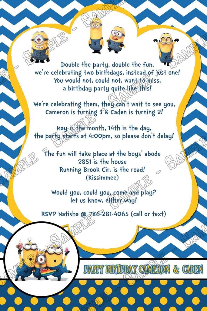 the minions despicable me birthday invitation