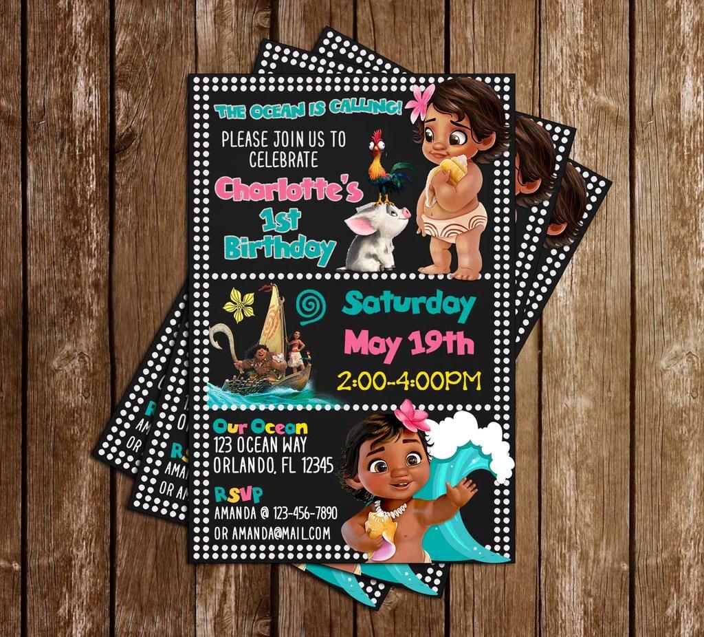 baby moana tall birthday party invitation