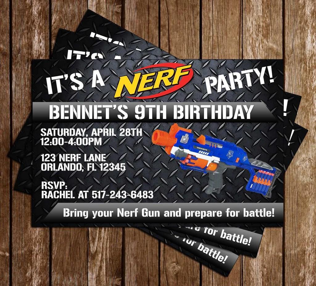 nerf gun battle birthday party invitation