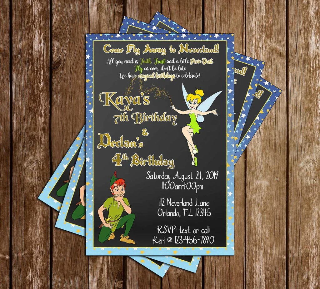 peter pan tinkerbell birthday party invitation