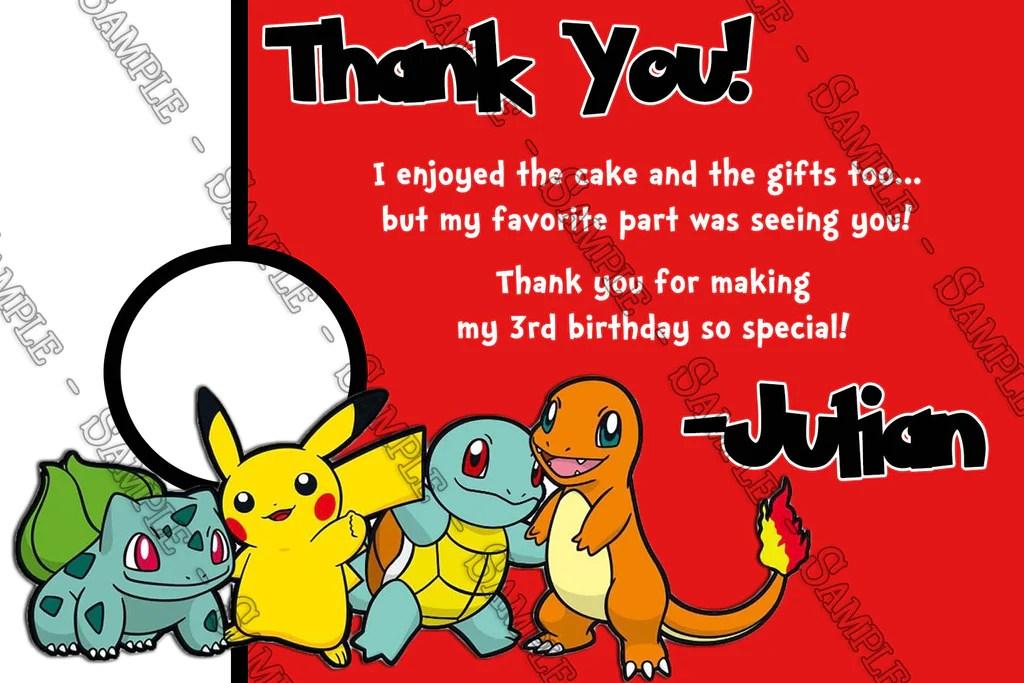 pokemon catch the all birthday party invitation