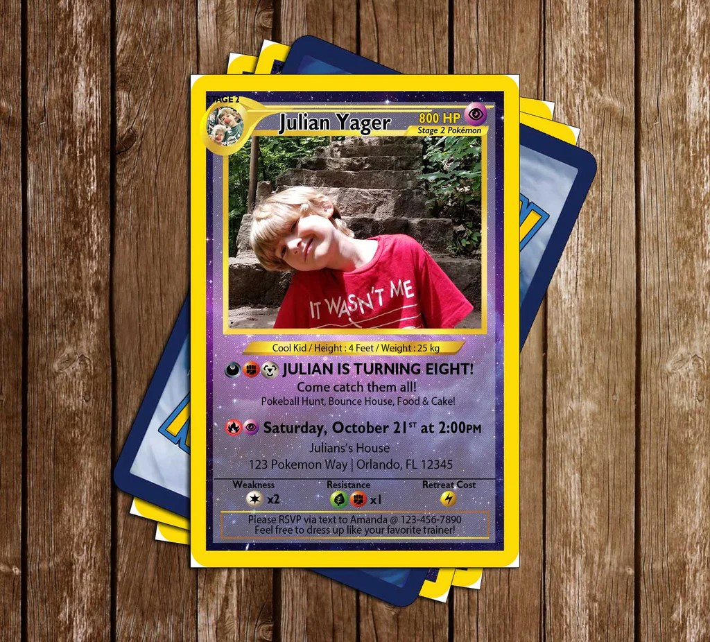 pokemon card photo birthday party double sided invitation