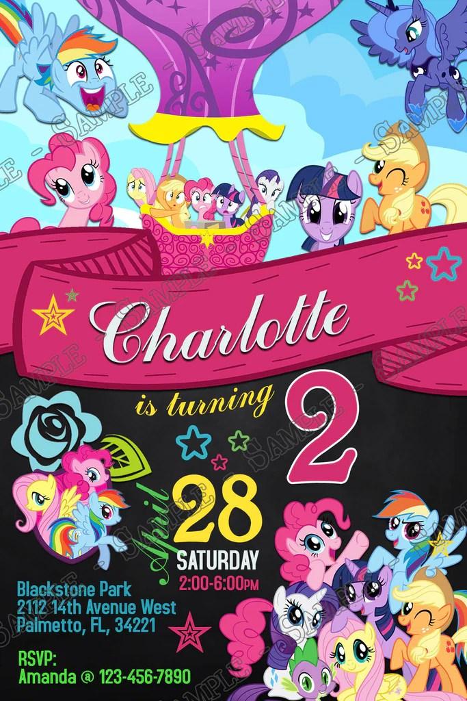 my little pony balloon banner chalkboard birthday party invitation
