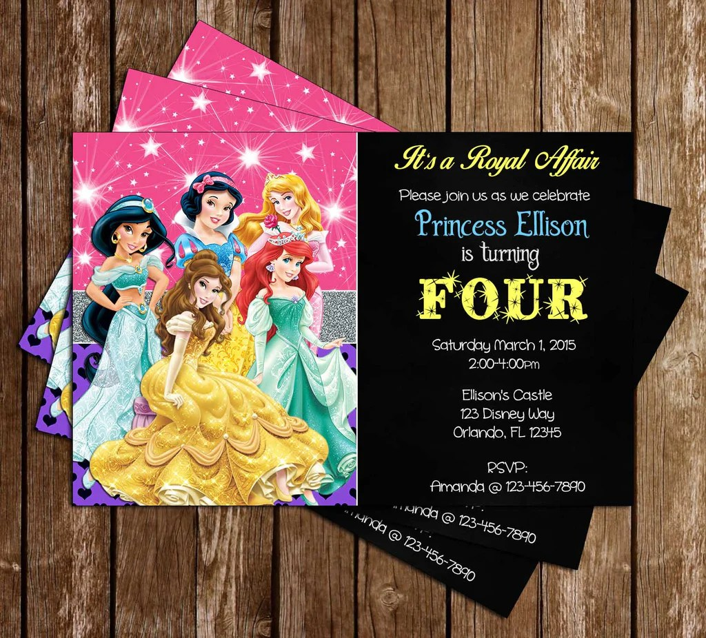 disney princess ariel aurora belle snow white jasmine birthday invitation