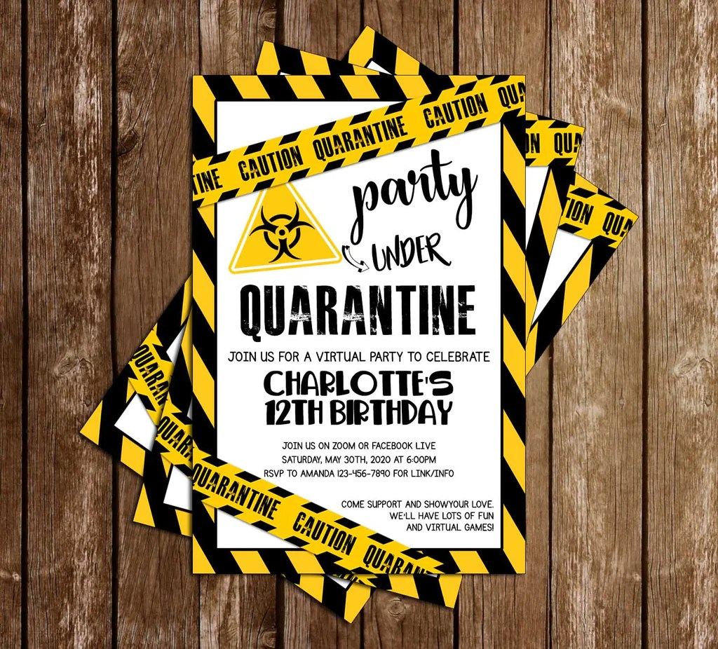quarantine yellow birthday party invitation