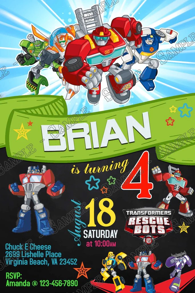 transformers rescue bots tall birthday party invitations