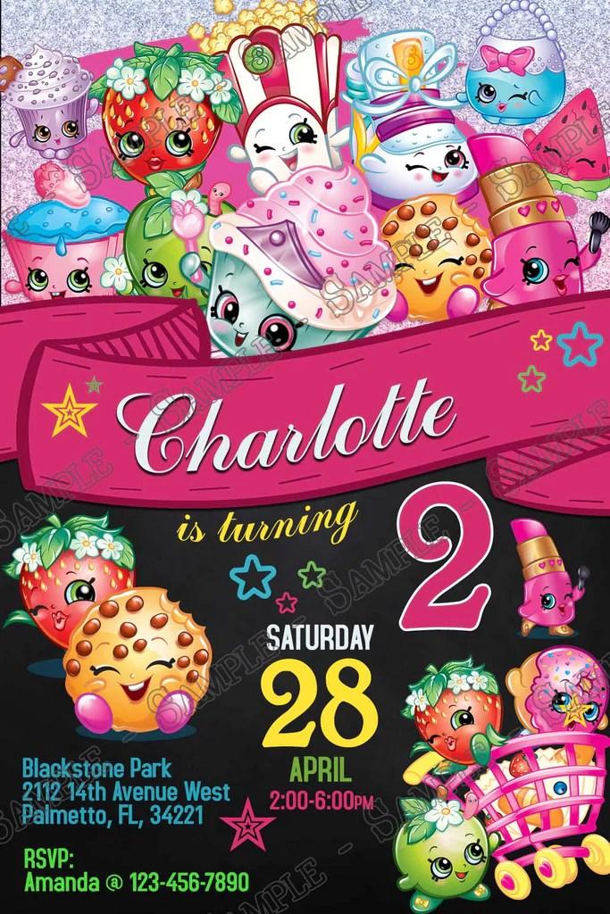 shopkins chalkboard birthday party invitation