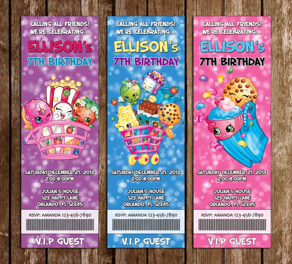 shopkins birthday party ticket invitations