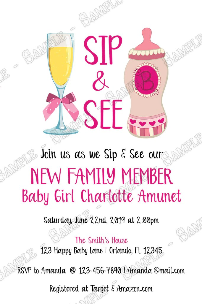 On the hunt for all things baby shower? Novel Concept Designs Sip See Gender Girl Baby Shower Invitation