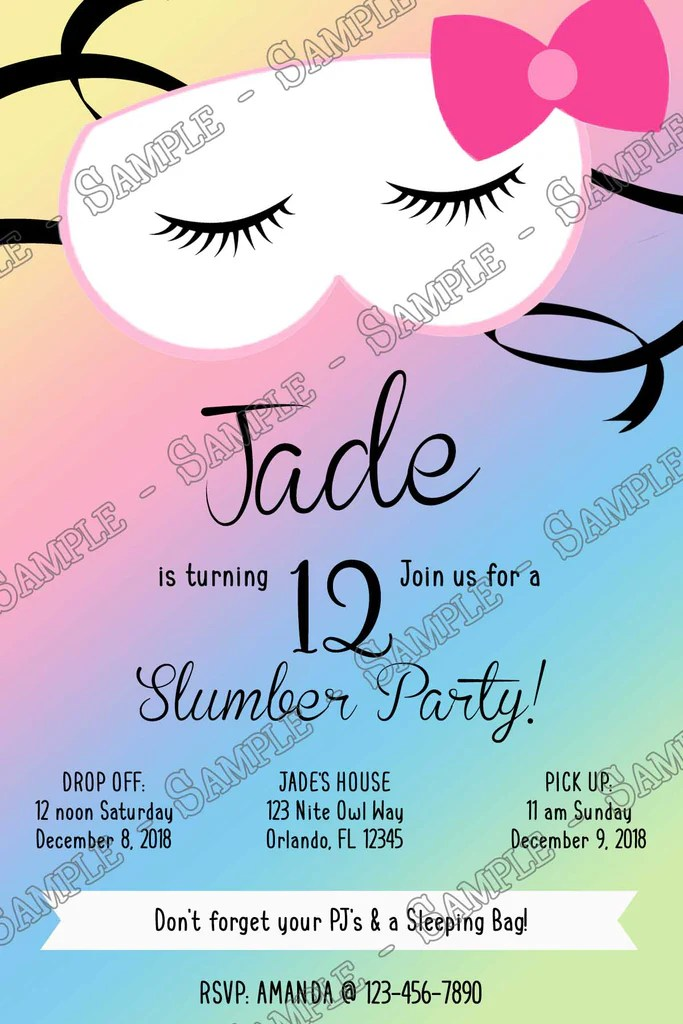 slumber party sleepover birthday party invitation