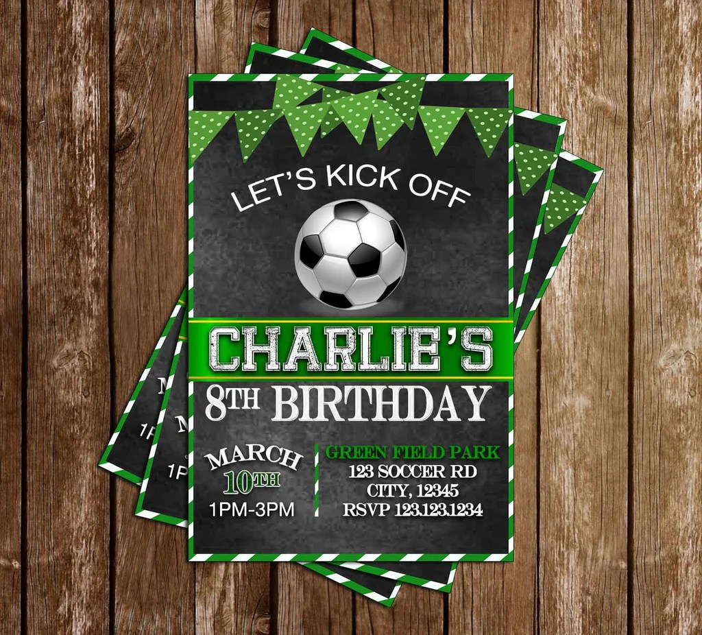 soccer let s kick off birthday party invitation