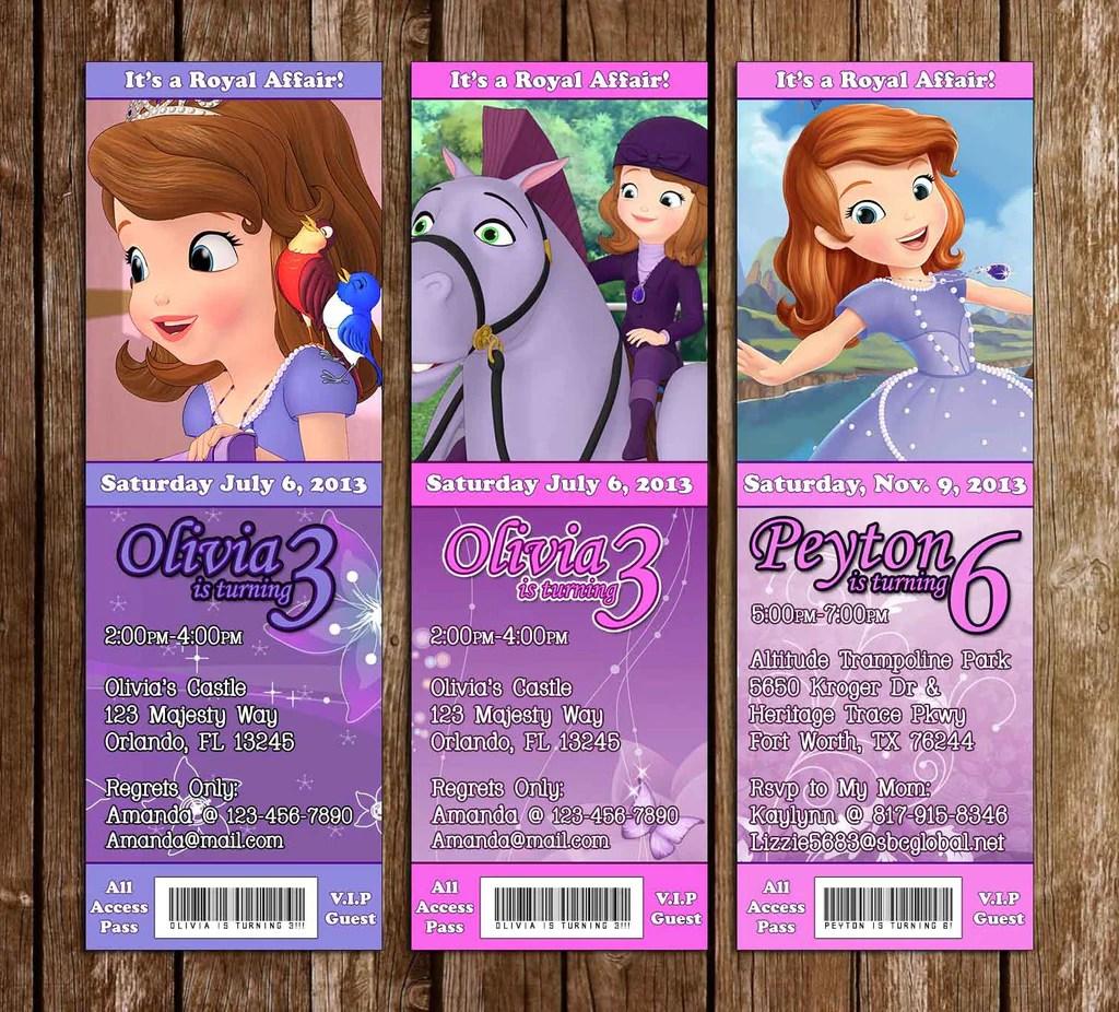 disney princess sofia the first birthday ticket invitation