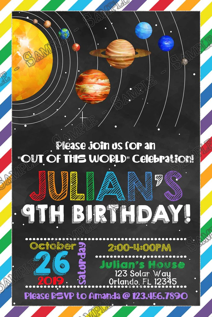 solar system space birthday party thank you card