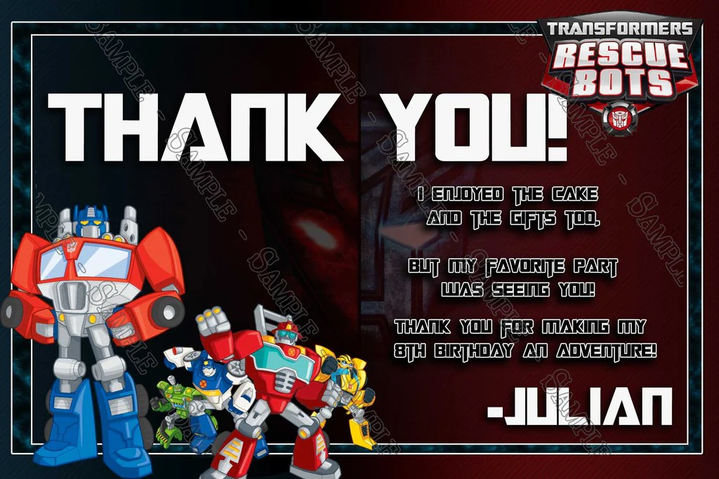 rescus bots transformers birthday party invitations
