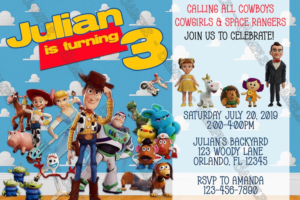 toy story 4 movie birthday party invitations