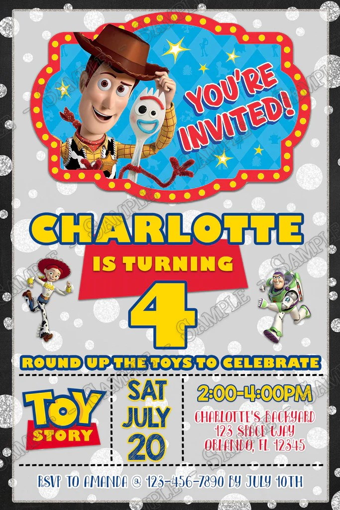 toy story tall chalk birthday party invitations