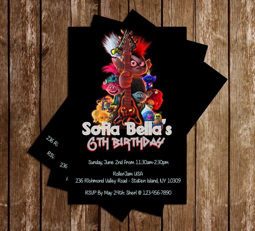 trolls world tour birthday party invitation