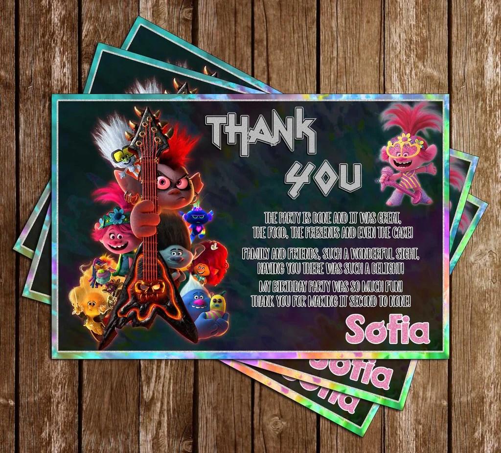 trolls world tour glitter birthday thank you card