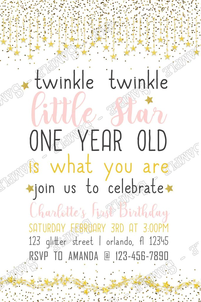 twinkle twinkle little star birthday party thank you card
