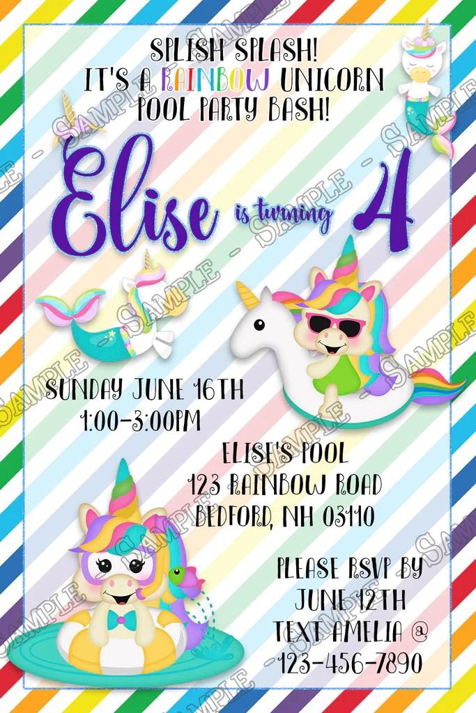 unicorn rainbow pool birthday party invitation