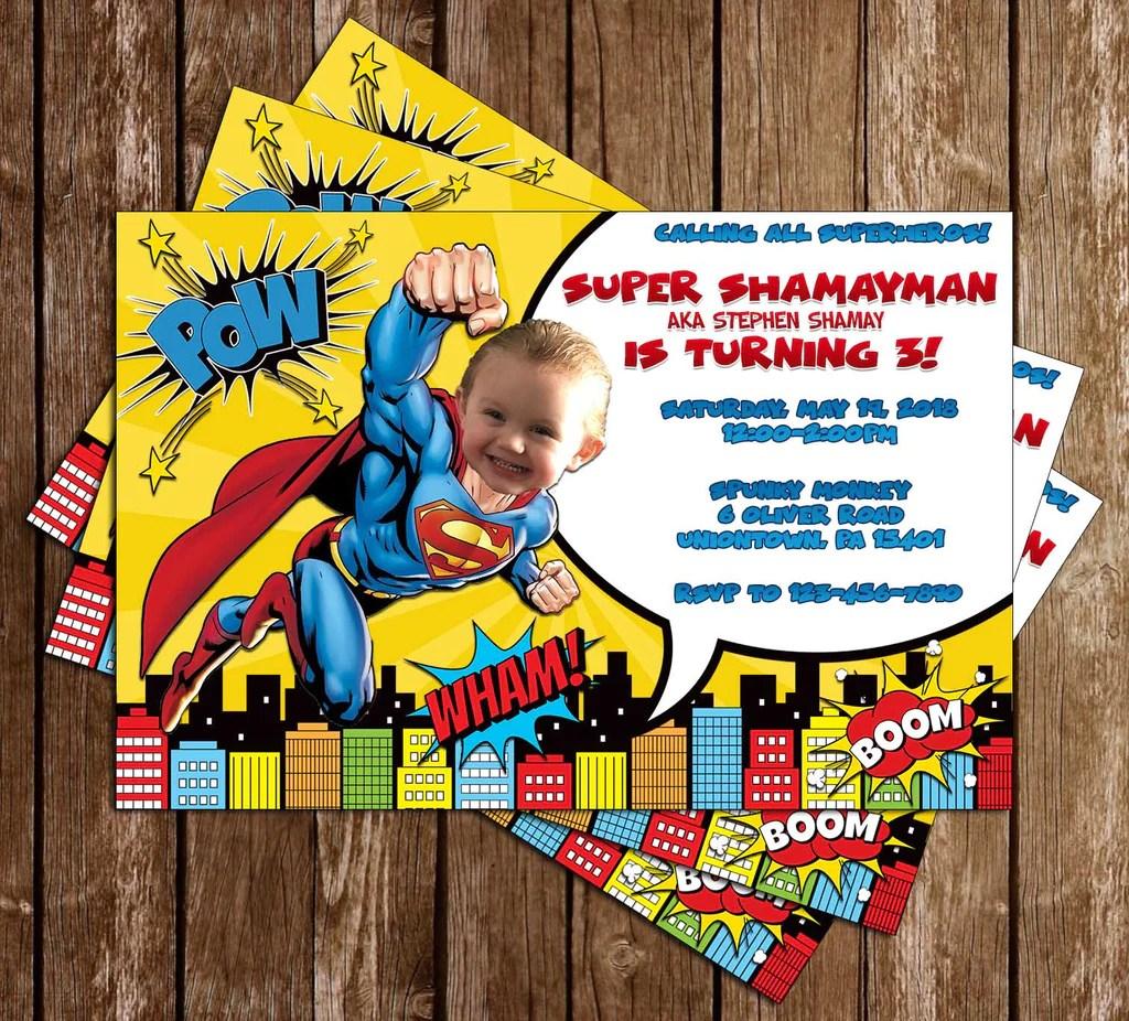 superman superhero birthday party invitation
