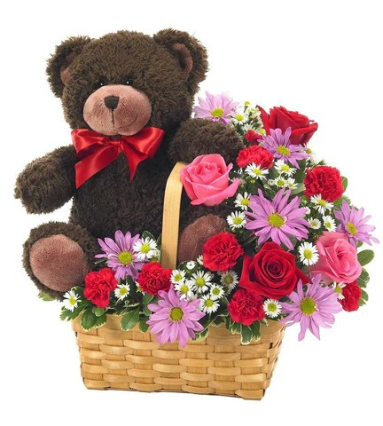Love Flowers   Romantic Flowers   Florists com Bear   Flower Basket Delight
