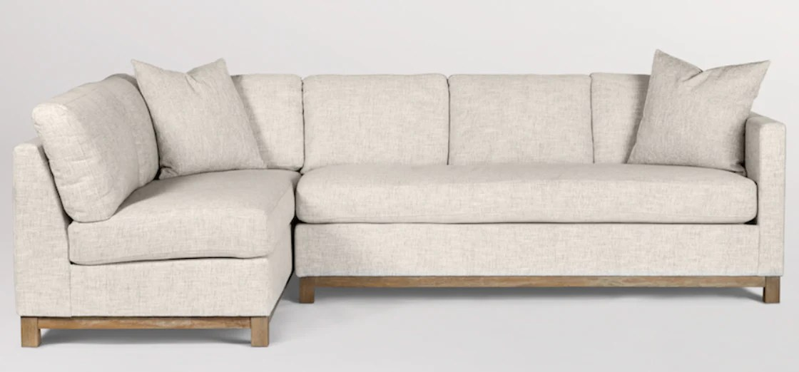 clifton 114 sectional left facing chaise crypton tweed driftwood