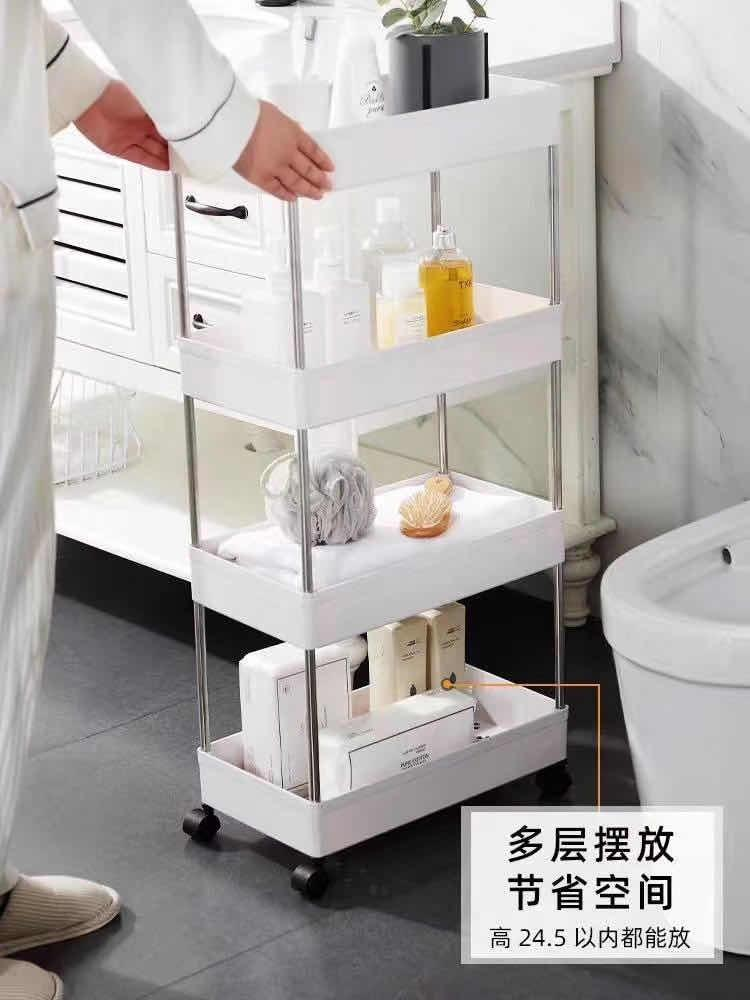 etroit chariot meuble de rangement mobile commode sur roulettes avec 4 etageres pour cuisine salle de bain noir