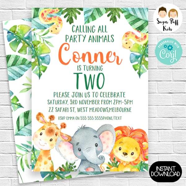 wild one party animal safari birthday invitation