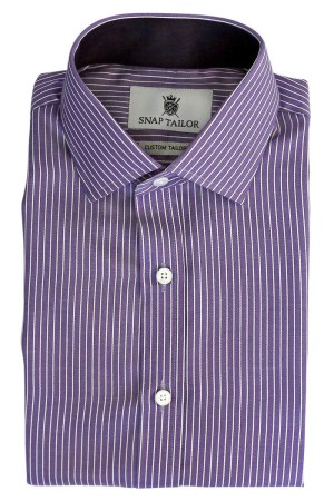 Bordered Stripe Dress Shirt in Purple   Snap Tailor Photo of the Bordered Stripe Dress Shirt in Purple