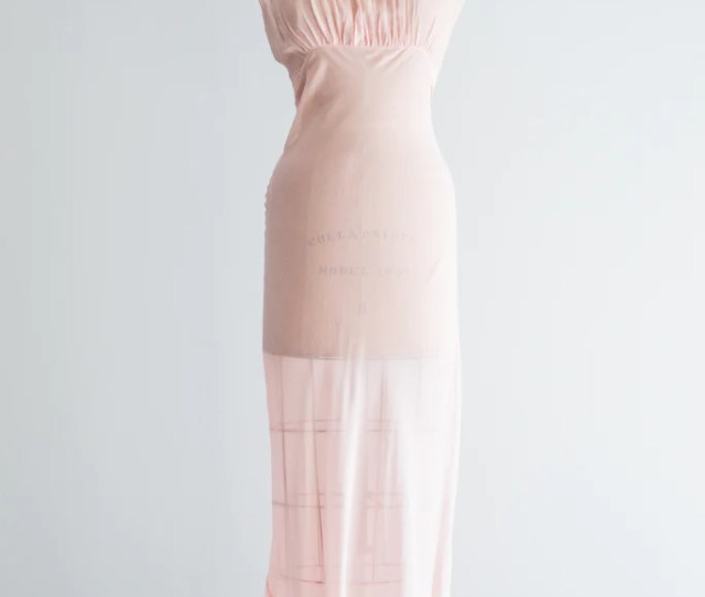 S Sheer Pink Silk Nightgown Slip S