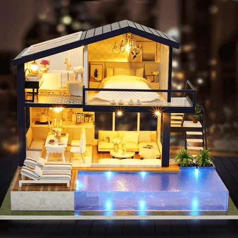 Modern Miniature Lighted DIY Dollhouse Kit