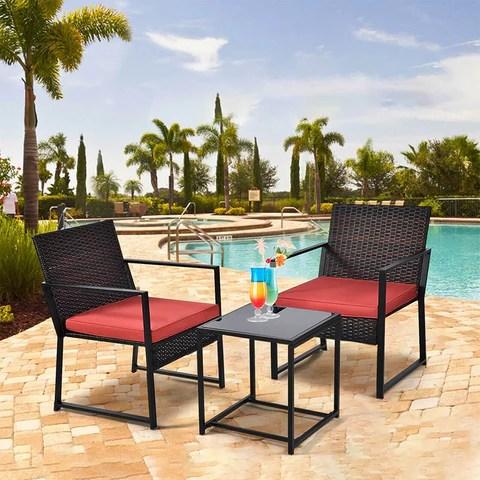 Outdoor 3pcs Patio Chair Table Rattan Set