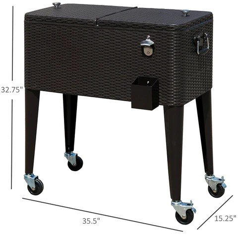 Patio Wicker Rattan 80qt Rolling Cooler Cart