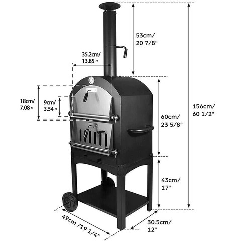 Pizza Oven Charcoal Wood Burning Cooker