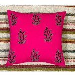 Pink Handblock Print With Hand Embroidery Cushion Cover