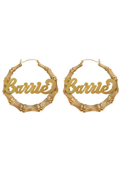 Custom Nameplate Bamboo Hoop Earrings 14K Gold Patricia