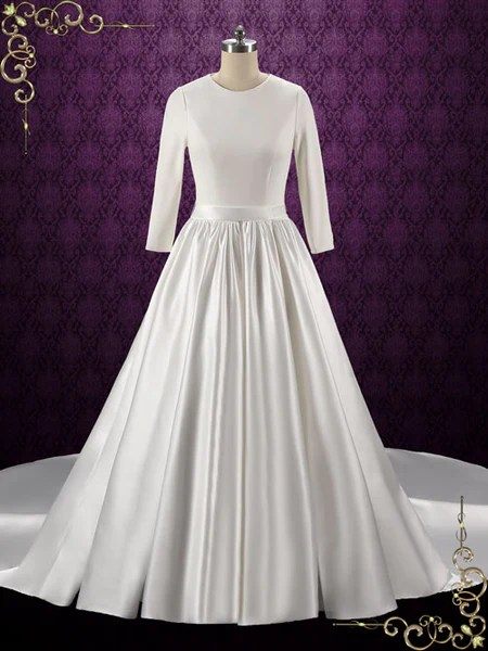 Simple Elegant Plain Satin Wedding Dress With Long Sleeves