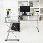 Glass Laptop Pc Computer Table Workstation Home Office Furniture Mecor L Shaped Corner Computer Desk With Shelf Stand Glass Metal Clear Talkingbread Co Il