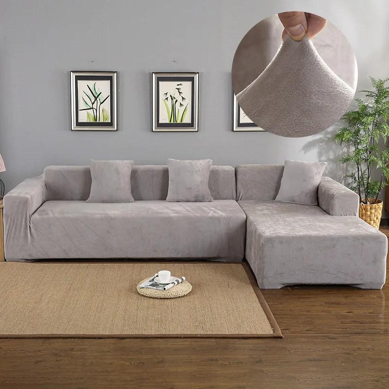 magic sofa stretchable cover l shape velvet slipcovernation